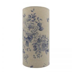 Blue Faded Rose Tall Drum Lampshade