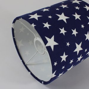 Navy Stars Drum Lampshade White Inner