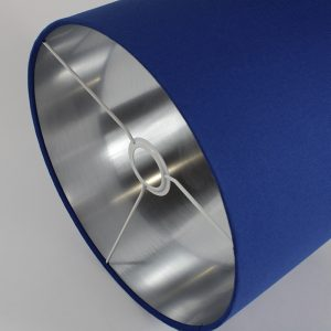 Bright Blue Drum Lampshade Silver Inner