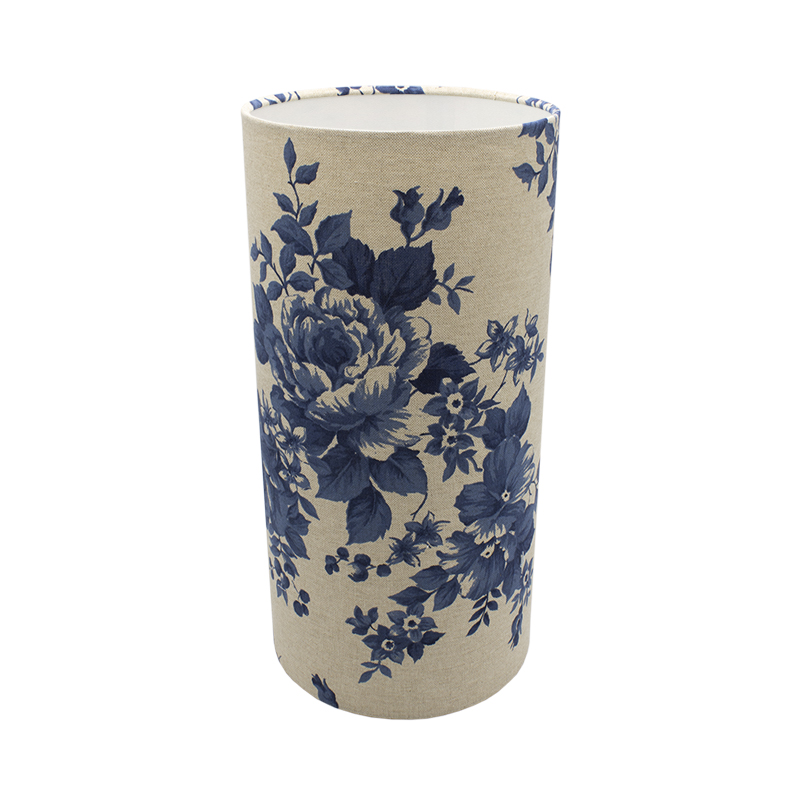 Bright Blue Rose Tall Drum Lampshade