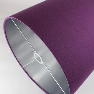 Bright Purple Tall Drum Lampshade Silver Inner