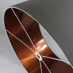 Light Grey Drum Lampshade Copper Inner