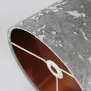 Grey Crushed Velvet Drum Lampshade Copper Inner