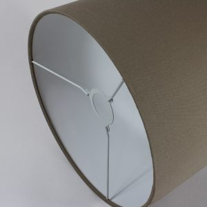 Dark Beige Drum Lampshade White Inner