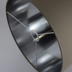 Dark Beige Drum Lampshade Silver Inner