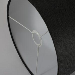 Dark Grey Herringbone Drum Lampshade White Inner