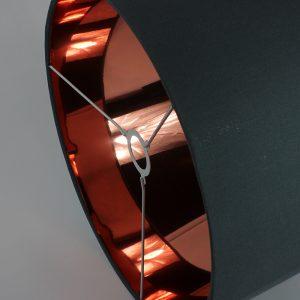Dark Grey Drum Lampshade Copper Mirror Inner