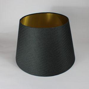 Dark Grey Herringbone French Drum Floor Lampshade Gold Inner