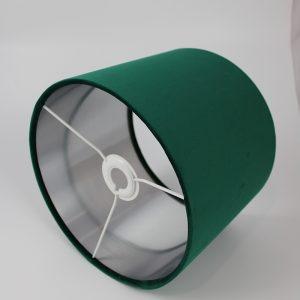 Emerald Green Velvet Drum Lampshade Silver Inner