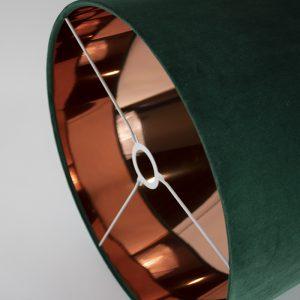 Emerald Green Velvet Drum Lampshade Copper Mirror Inner