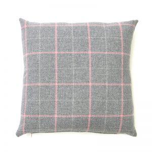 Exford Grey Pink Square Cushion