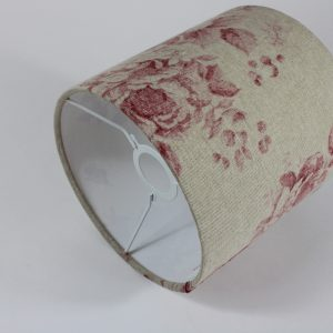 Red Faded Rose Ceiling Drum Lampshade White Inner