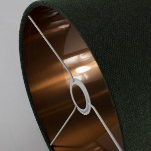 Toad Green Herringbone Drum Lampshade Copper Inner