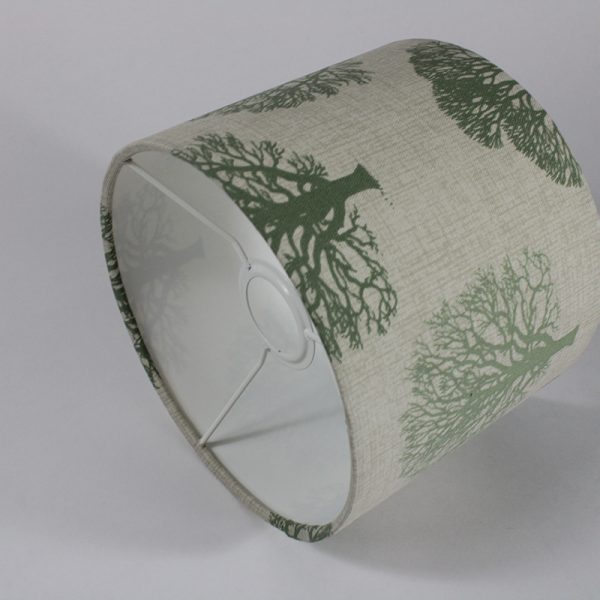 Green Trees Ceiling Drum Lampshade White Inner