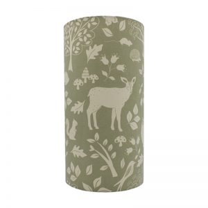 Green Woodland Animals Tall Drum Lampshade