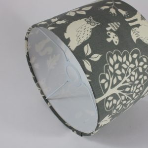 Grey Woodland Animals Floor Drum Lampshade White Inner
