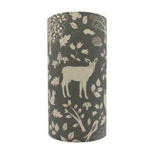Grey Woodland Animals Tall Drum Lampshade