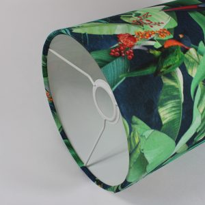 Jungle Parrot Tall Drum Floor Lampshade White Inner