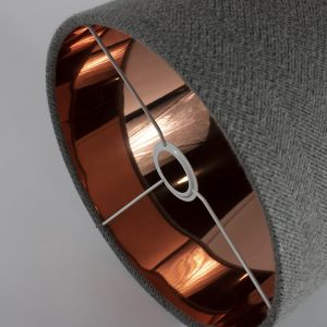 Light Grey Herringbone Drum Lampshade Copper Mirror Inner
