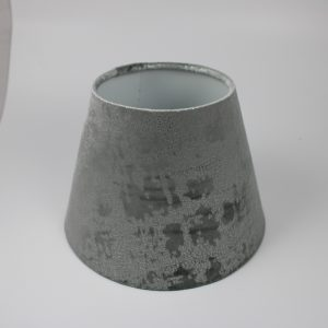 Mercury Dove Grey velvet empire lampshade with white inner, white spoke and floor fitting. The dimensions of this lampshade are 25cm diameter x 18cm high.