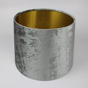 Mercury Dove Grey Velvet French Drum Lampshade Gold Inner