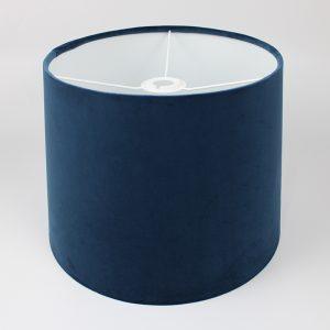 Navy Blue Velvet French Drum Ceiling Lampshade White Inner