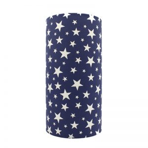 Navy Blue Stars Tall Drum Lampshade