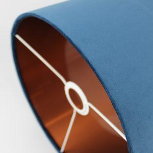 Navy Blue Velvet Drum Lampshade Copper Inner