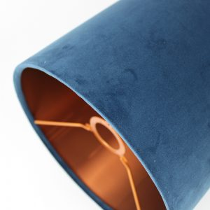 Navy Blue Velvet Tall Drum Lampshade Copper Inner