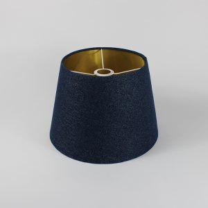 Navy Wool French Drum Ceiling Lampshade Gold Inner