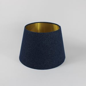 Navy Wool French Drum Floor Lampshade Gold Inner