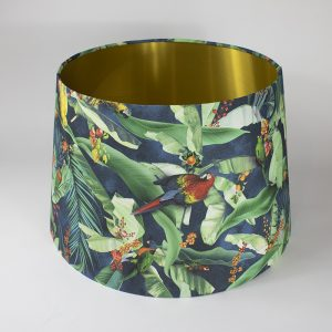 Jungle Parrot French Drum Lampshade Gold Inner