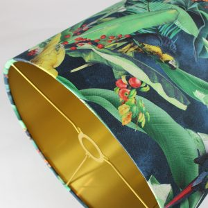 Jungle Parrot Tall Drum Floor Lampshade Gold Inner