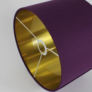 Bright Purple Drum Lampshade Gold Inner