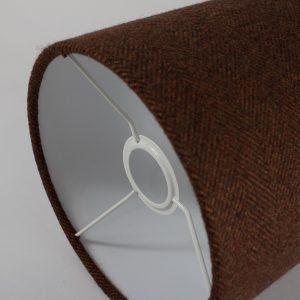 Rust Herringbone Drum Lampshade White Inner