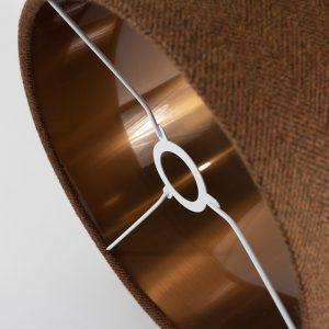 Rust Herringbone Drum Lampshade Copper Inner