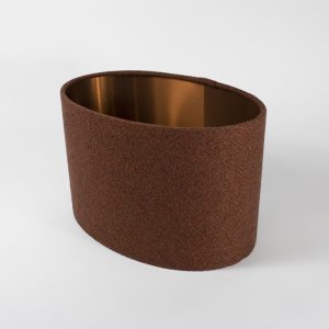 Rust Herringbone Oval Lampshade Copper Inner