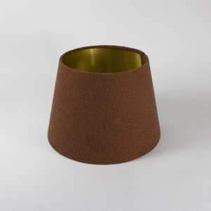 Rust Herringbone French Drum Floor Lampshade Gold Inner