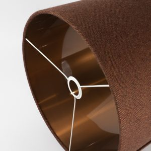 Rust Herringbone Drum lampshade with copper inner and white spoke. The dimensions of this lampshade are 40cm diameter x 32cm high.