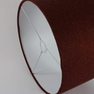 Rust Herringbone Drum Lampshade White Inner