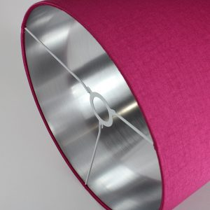 Bright Pink Satin Drum Lampshade Silver Inner