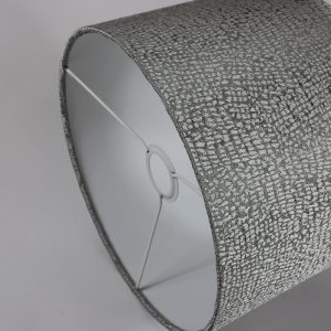Silver Serpa Drum Lampshade White Inner