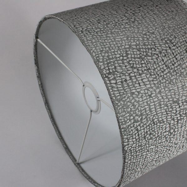 Silver Serpa Drum Lampshade White Inner