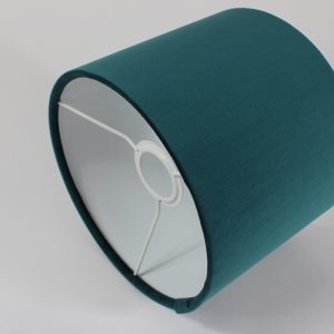 Teal Velvet Drum Lampshade White Inner