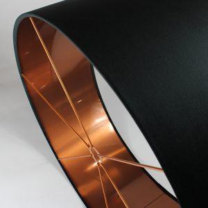 Velvet Black Drum Lampshade Copper Inner