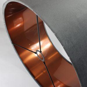 Velvet Slate Grey Drum Lampshade Copper Inner