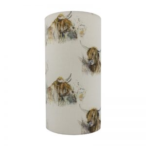 Voyage Highland Cattle Tall Drum Lampshade