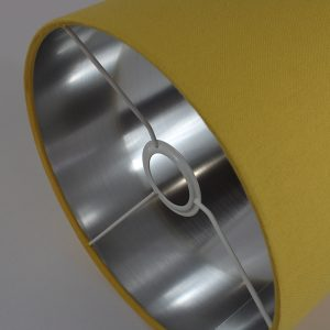 Bright Yellow Drum Lampshade Silver Inner
