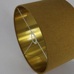 Mustard Yellow Wool French Drum Floor Lampshade Gold Inner