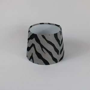 Grey Zebra Floor French Drum Lampshade White Inner
